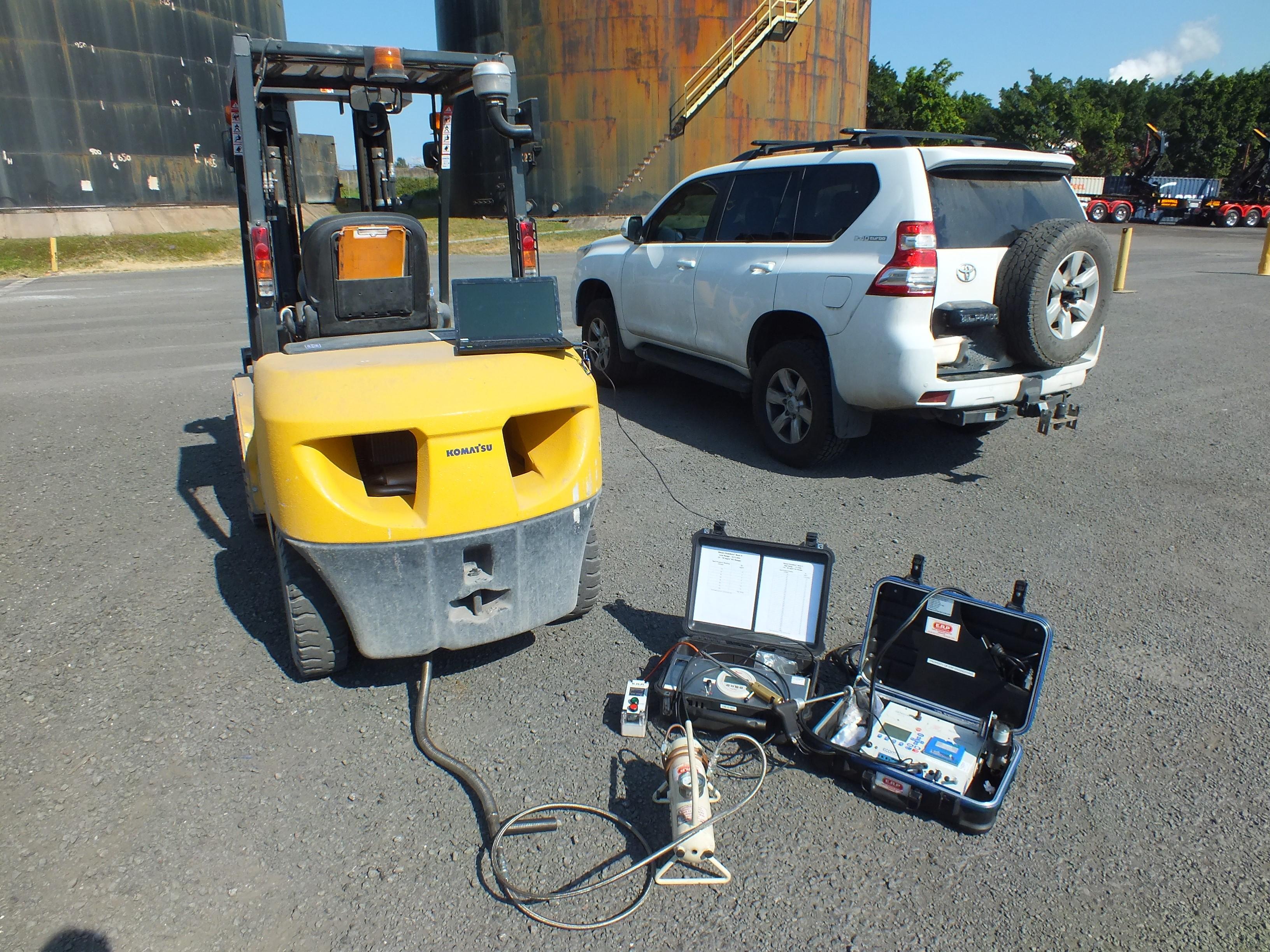 Raw diesel exhaust testing.